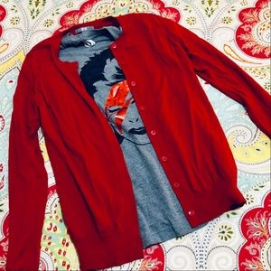 Red Uniqlo Merino Wool Cardigan, size M